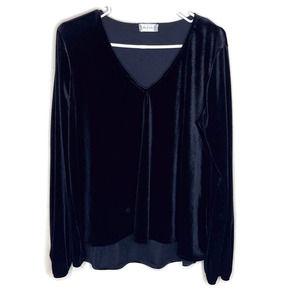 Altar'd State women's black velvet blouse tunic L